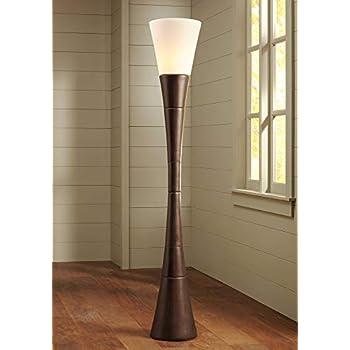Modern Torchiere Floor Lamp Urban Coffee Wood White Glass