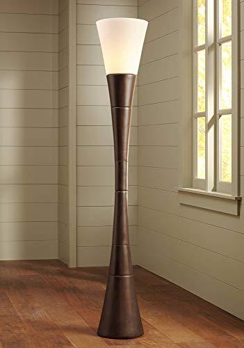 Urban Living Torchiere - Modern Torchiere Floor Lamp Urban Coffee Wood White Glass Shade Floor Dimmer for Living Room Bedroom Uplight - Possini Euro Design