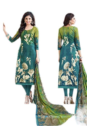 ad76ef6e63 Blue & green DIGITAL PRINT SUIT Pashmina Fabric Digital Printed Pashmina  Top & Bottom Chhifon Printed