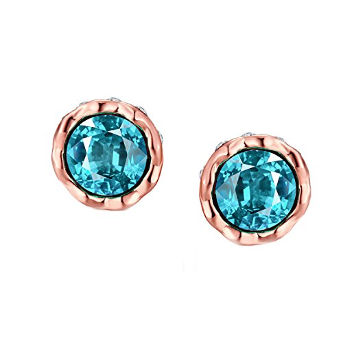 Stud Earrings, Rose Gold Plated 3A Crystal Blue Cubic Zirconia Stud Earrings For Women Girl