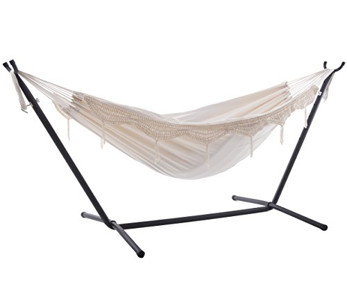 Vivere Double Hammock with Space Saving Steel Stand, (Natural Hammock)