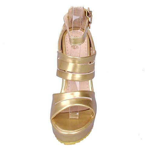RAZAMAZA Femmes Chaussures Sandales Compensées Forme Plate Gold 64O0qx6