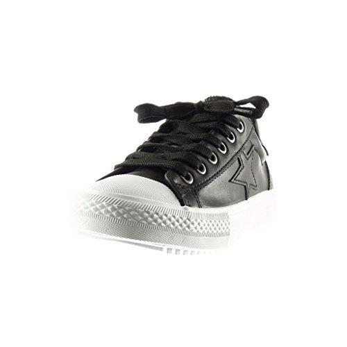 Angkorly - damen Schuhe Sneaker - Stern - Perforiert flache Ferse 2.5 CM - Schwarz