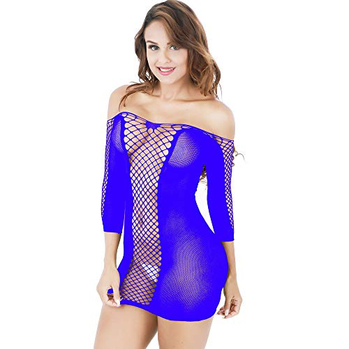 Rakkiss Women's Sexy Transparent Mesh Bodycon Underwear Dress -