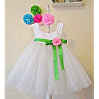 Vestido Crochet con Tul para Niña Bebé Blanco con Moño