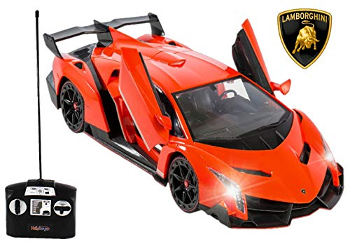 Haktoys Licensed Lamborghini Veneno Roadster 1:14 Scale Sports RC Car Realistic Car Sound & Detailed Design | Head/Rear Lights | Slide-Up/Scissor Doors | Battery Operated & Pre-Assembled (Orange)