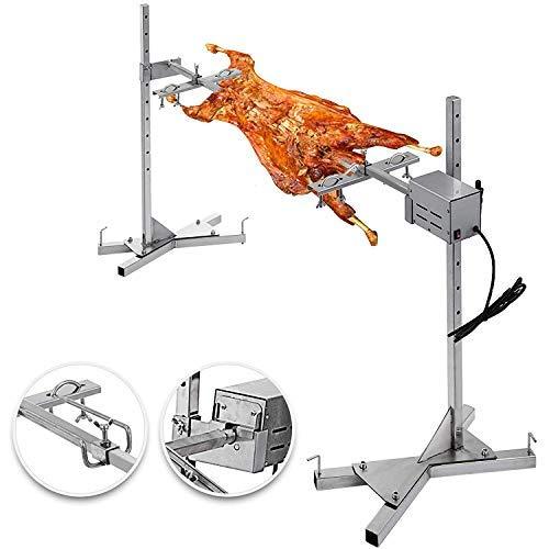 VBENLEM BBQ Rotisserie Kit 60-90LB Pig Spit Rotisserie Grill 25W Universal Rotisserie Kit for Grill 51″ Pig Rotisserie Motor Kit Heavy Duty for Pig Rotisserie Hog Lamb