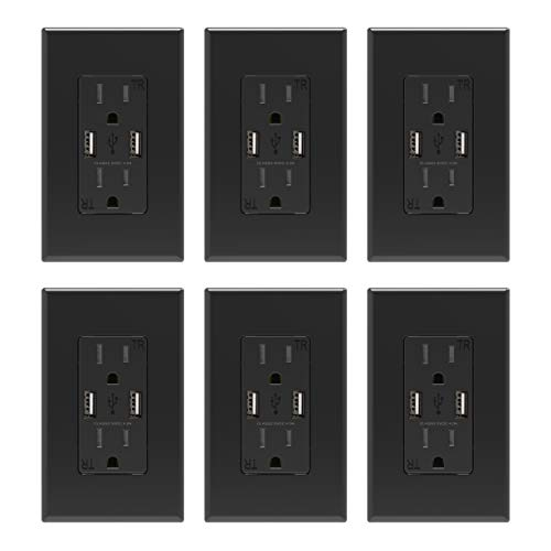 ELEGRP USB Charger Wall Outlet, Dual High Speed 4.0 Amp USB Ports with Smart Chip, 15 Amp Duplex Tamper Resistant Receptacle Plug, Wall Plate Included, UL Listed (6 Pack, Black)