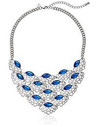 "1928 Jewelry Silver-Tone Blue Filigree Bib Adjustable Necklace, 16"" + 3"" Extender"
