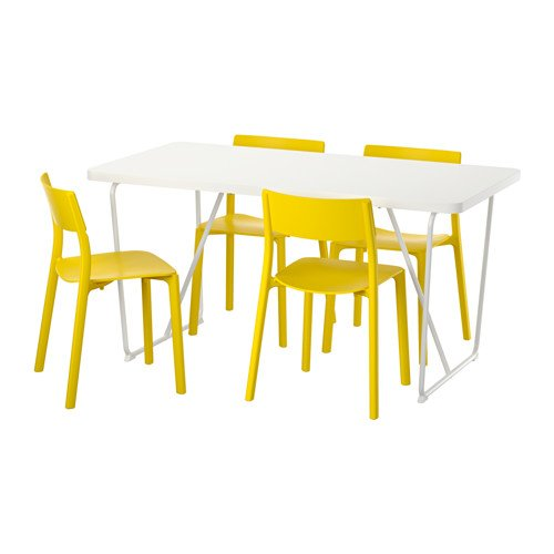 Ikea Table and 4 chairs, white, yellow 14204.2058.214