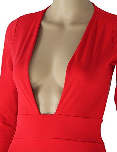 Red Party Club Long Bodycon Sleeve Dresses Neck Women's UZZDSS Sexy V Hollow Dress Backless Deep q6BgWSU76