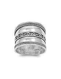 Noureda Sterling Silver Bali Spiral and Rope Edge Design Wide Band Ring, Face Height of 18MM