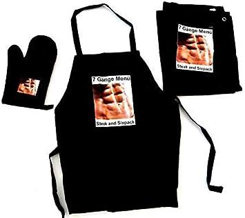 Tinas Collection Juego de 3 delantales Negro con texto regalos para hombres 7 delantal para barbacoa guante de horno y pa/ño de cocina