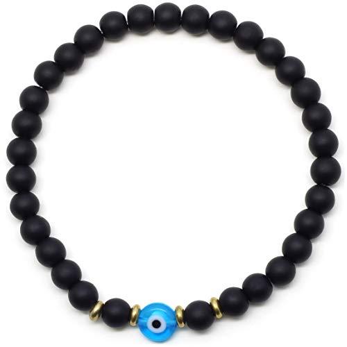 (Black Beaded Evil Eye Bracelet for Men)