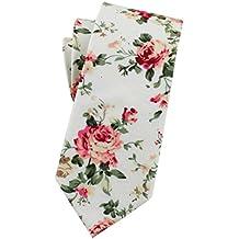 Levao Men's Skinny Tie Printed Floral Cotton Neckties