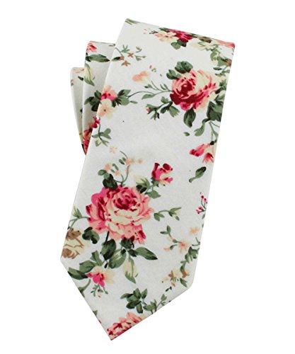 Levao-Men's Skinny Tie Floral Cotton Neck Ties for Men CT00108 ()