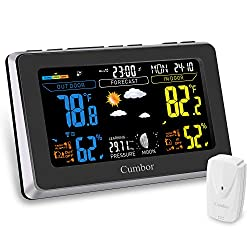 Cumbor Weather Stations with Wireless Indoor Outdoor Sensor, Digital Color Forecast Temperature & Humidity Alerts, Pressure, Alarm Clock