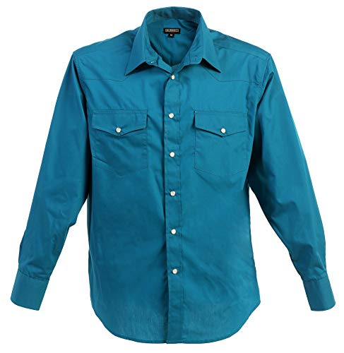 Gioberti Men's Solid Long Sleeve Western Shirt with Pearl Snap-on Buttons, Turquoise, X Large