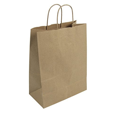 Kraft Recycled Bags - Duro ID# 87124 Missy Shopping Bag 60# 100% Recycled Natural Kraft 250pk 10 x 5 x 13