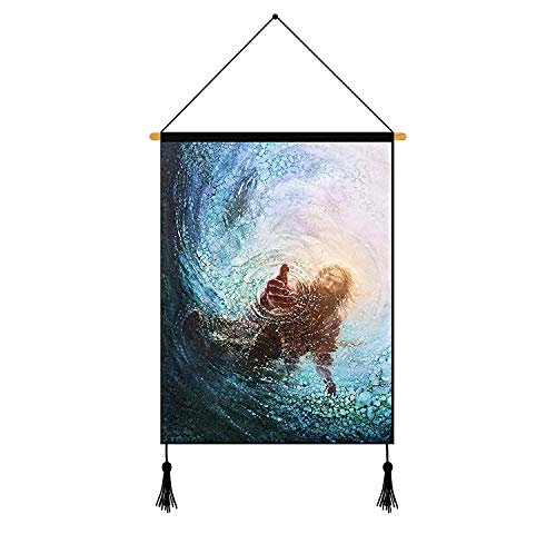 Home Decor the Hand of God Painting Jesus Reaching into Water Picture Unframed Canvas Wall Art Ready To Hang 1826 Inches (Picture Jesus)