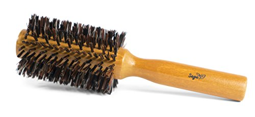 NEW - Sage Natural Boar Bristles Hair Brush - Premium Round Wooden Brush (Eco Hair Dryer Brush compare prices)