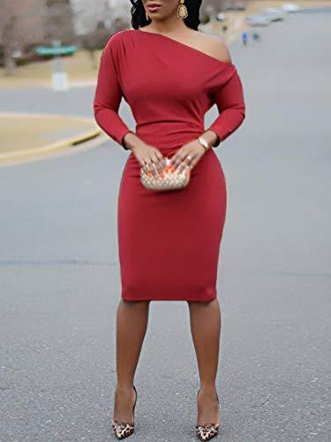 Orandesigne Slim Midi Dress Asimmetrico Donna Nozze Cocktail Lunga Elegante Inverno Senza Vestiti Abito Rosso Cerimonia Festa Sexy Club Spalline Manica ga8Trgnq