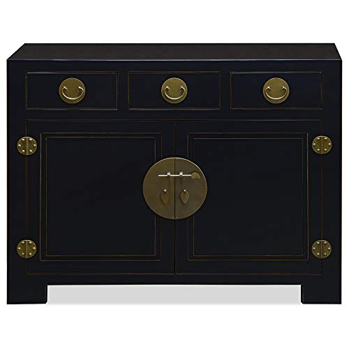 Sideboard 48 (ChinaFurnitureOnline Elmwood Cabinet, 48 Inches Ming Style Sideboard in Black Finish)
