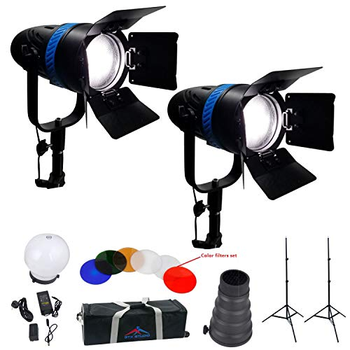 2PC 120W LED Focusing Spot Lights Kit Flood Lighting with2 Light Stands and ()