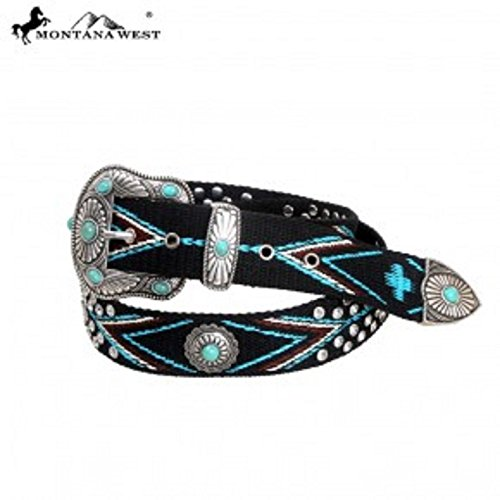 Montana West Western Colorful Aztec Hand Beaded Woven Belt, Turquoise, Silver (Medium 36-38 inches) (Beaded Turquoise Belt)