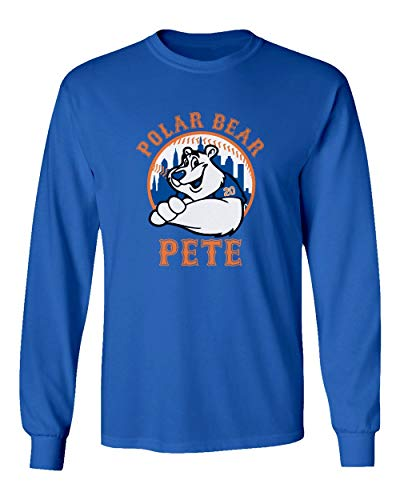 (SMARTZONE New York Fans Alonso Polar Bear Pete Baseball Boys Girls Youth Long Sleeve T-Shirt (Royal, Youth Medium))