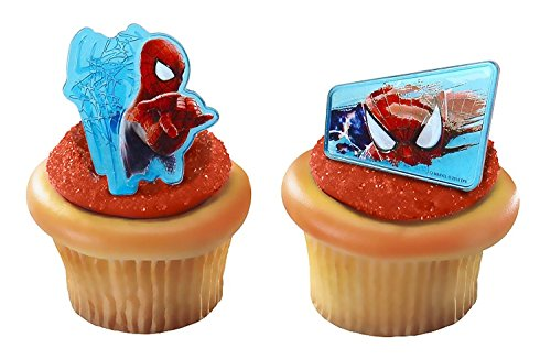 Spiderman Web-Slinger Rings, 12 Pack Cupcake Toppers, Two Designs, Christmas Cake Decorations for Kids Birthday Party Favors.