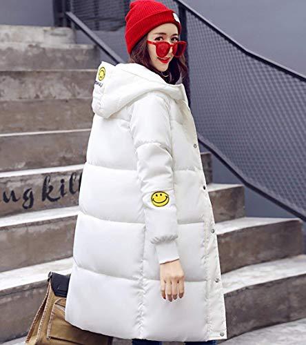 Lunga Tasche Manica Moda Calda Invernali Ragazza Con Piumini Cappuccio Giovane Cappotti Cerniera Pulsante Monocromo Giacca Bianca Giubotto Donna Chic Laterali IRzqxvww