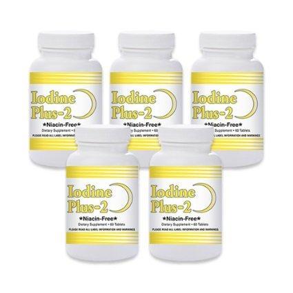 Iode naturelle vivante Plus 2 pour la basse thyroïde - 5 bouteilles