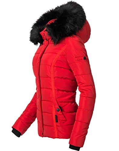 avec Navahoo en XS Fausse Une Couleurs 9 matelasse Rouge pour Miamor Veste Fourrure d'hiver XL Dame Capuche qCAnSqg