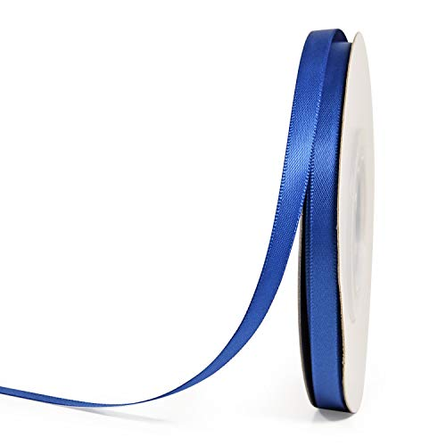 YAMA Double Face Satin Ribbon Roll - 1/4 Inch 25 Yards for Gift Wrapping Ribbons Decorations DIY Crafts Arts, Royal Blue