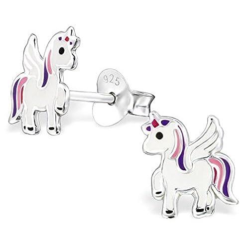 a163dc2a8512 Durable Modelando Pendientes de unicornio de plata de ley para niñas ...