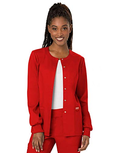 Cherokee Women's Snap Front Warm-up Jacket, Red, Medium