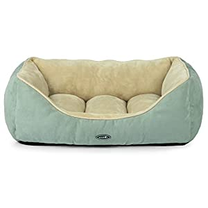Dog Bed Cat Pet Bed Machine Washable Luxury Soft PP Cotton-Filled Coral Fleece Bed for Small Medium Large Pet Green and Beige