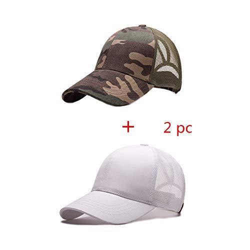 Alljoin Ponytail Messy Buns Trucker Ponycaps Plain Baseball Visor Cap Dad Hat (Camouflage Green + White)
