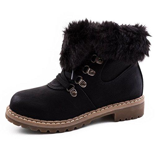 Damen Winter Schnür Boots Schuhe Stiefel mit Kunstfell in Lederoptik warm gefüttert Khaki Milan