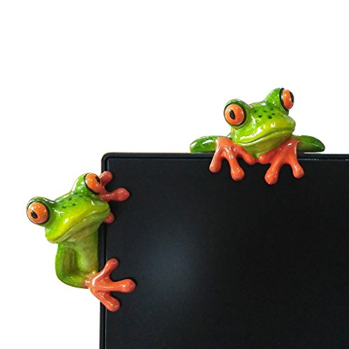 3D Creative Frog Statues,Moral Integrity Green Frog Figurines,Funny & Cute Frog Statue Gifts for Friends (Computer Decorations 2pcs)