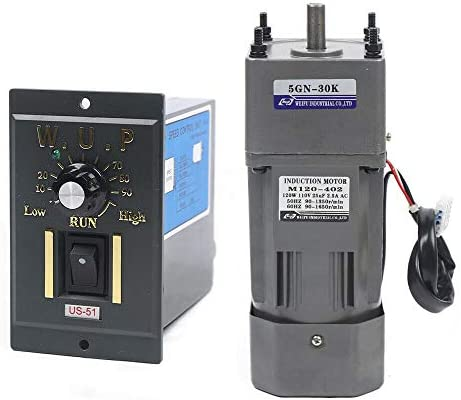 41 J%2Bi3b7yL. AC 110V 120W Ac Gear Motor Electric Single-phase Motor Gear Motor 0-45RPM Electric Variable Speed Adjustable Controller Governor Geared Motor and Adjustable Speed Controller Combo (Reduction ratio:1:30)     This is a geared AC motor with a working voltage of AC 110V.Less noise, stronger.It's an electric motor, widely used in homes, handcrafts, school projects, model churning soda machines, low-speed machines, and any other product you want.Its stability is strong, the use is more assured, also has the governor, the use can be more convenient. The 120W deceleration motor can achieve super fast speed of 1350 RPM, thus ensuring high efficiency.And the motor has the characteristics of heat resistance, low noise, high quality and long service life.The motor has a compact body, lightweight structure, easy to carry and operate. The single-phase motor also has a reduction gear box and a governor, the speed regulator has a large torque, with a variety of optional speeds.Therefore, it is more convenient to use. You can adjust different speed according to different products to achieve the desired effect. It is very convenient and fast to use. Name: geared motor. Rated voltage: AC110 V. Rated speed: 45RPM/MIN. Reduction ratio: 1:30(30K). Power Phase: single-phase. 120W geared motor:6.5inch * 3.5inch *3inch. Reducer size: 2.5inch*3.5inch *3inch. Torque: at full speed 20nm. 120W gear motor Output speed: 45~0RPM. Product List:1 * Gear Motor, 1 * speed controller, 1 * Reducer. Our products are shipped directly from the US warehouse. We have strict quality control system, our products are put into the market after rigorous testing. We provide friendly customer services forever. If you have any questions or quality issue,please feel free to contact us.