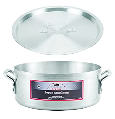 """Winco AXBZ-28, 28-Quart 18-3/8"""" x 6-1/2"""" Super Aluminum Brazier Pan with Cover, Heavy-Duty Commercial Grade Braiser Pan with Lid, NSF"""