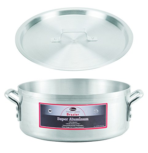 Winco AXBZ-15, 15-Quart 14-3/8'' x 5-3/4'' Super Aluminum Brazier Pan with Cover, Heavy-Duty Commercial Grade Braiser Pan with Lid, NSF by Winco