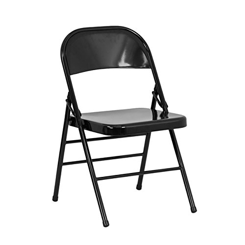 Flash Furniture 4 Pk. HERCULES Series Triple Braced Double Hinged Black Metal Folding Chair