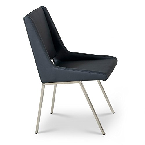 TIC Modern Fiore Dining Chair in Midinight Blue Leatherette and Chrome ()