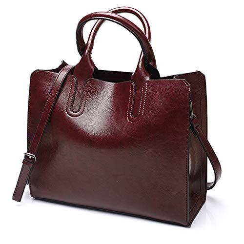 (Pahajim Women Top Handle Satchel fashion handbags for women Tote Purse (Wine red))