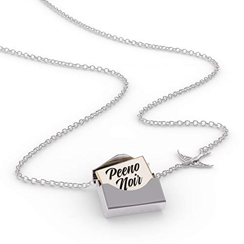 - NEONBLOND Locket Necklace Vintage Lettering Peeno Noir in a Silver Envelope