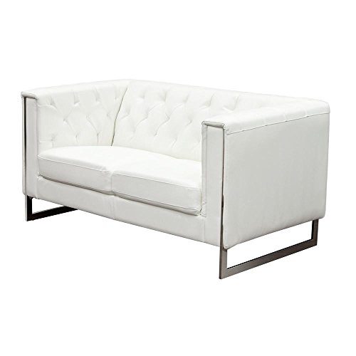 Carney White Leatherette Loveseat with Metal Leg