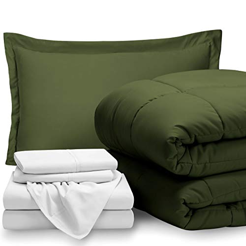 (Bare Home Bed-in-A-Bag 5 Piece Comforter & Sheet Set - Twin - Goose Down Alternative - Ultra-Soft 1800 Premium - Hypoallergenic - Bare Breathable Bedding (Twin, Green/White))